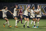 Bayley Feist (center) of the Wake Forest Demon Deacons celebrates after scoring a goal during second half action against the South Carolina Gamecocks at Spry Soccer Stadium on August 24, 2017 in Winston-Salem, North Carolina.  The Demon Deacons defeated the Gamecocks 3-2.  (Brian Westerholt/Sports On Film)