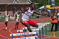 McCluer senior Josh Haskin won the 300 hurdles and high jump at the 2016 MSHSAA Class 4 District 3 Track and Field Meet at Ladue High School, St. Louis, Saturday, May 14.