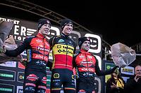 podium:<br /> <br /> 1st place: Toon Aerts (BEL/Telenet Baloise Lions)<br /> 2nd place: Laurens Sweeck (BEL/Pauwels Sauzen - Bingoal)<br /> 3th place: Eli Iserbyt (BEL/Marlux-Bingoal)<br /> <br /> CX Superprestige Zonhoven (BEL) 2019<br /> Elite & U23 mens race