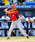 28 February 2011: Washington Nationals' infielder Jerry Hairston Jr. in action during a Spring Training game against the New York Mets at Digital Domain Park in Port St. Lucie, Florida. The Nationals defeated the Mets 9-3 in Grapefruit League action. Mandatory Credit: Ed Wolfstein Photo