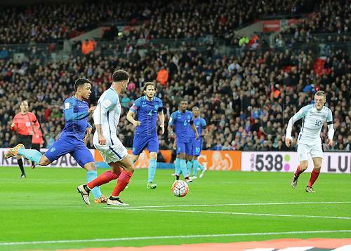 29.03.2016. Wembley Stadium, London, England.  International Football Friendly England versus Netherlands. England Defender Kyle Walker squares the ball for England's Forward Jamie Vardy to score past Netherlands Goalkeeper Jeroen Zoet, 1-0 England