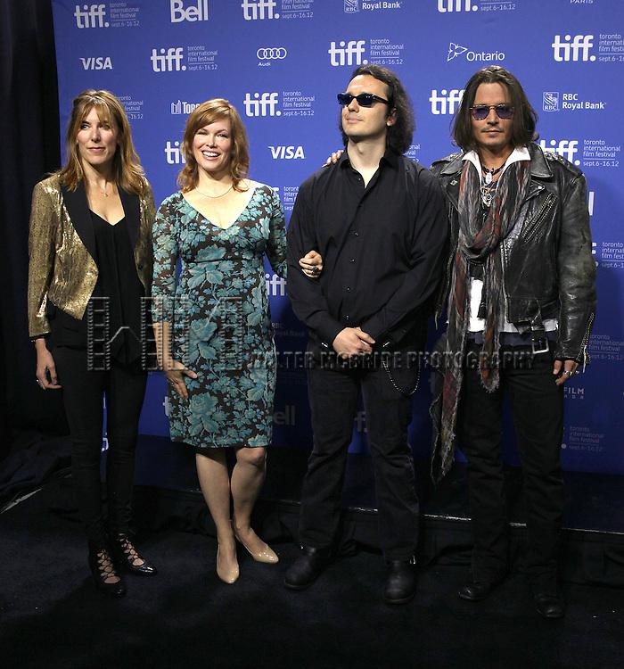 Amy Berg, Lorri Davis, Damien Echols & Johnny Depp attending the The 2012 Toronto International Film Festival.Photo Call for 'West of Memphis' at the TIFF Bell Lightbox in Toronto on 9/8/2012