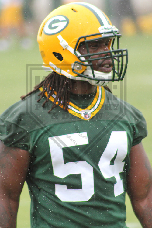 GREEN BAY - MAY 2012:  Dezman Moses (54)  of the Green Bay Packers during an Organized Team Activity on May 30, 2012 at Ray Nitschke Field in Green Bay, Wisconsin. (Photo by Brad Krause)