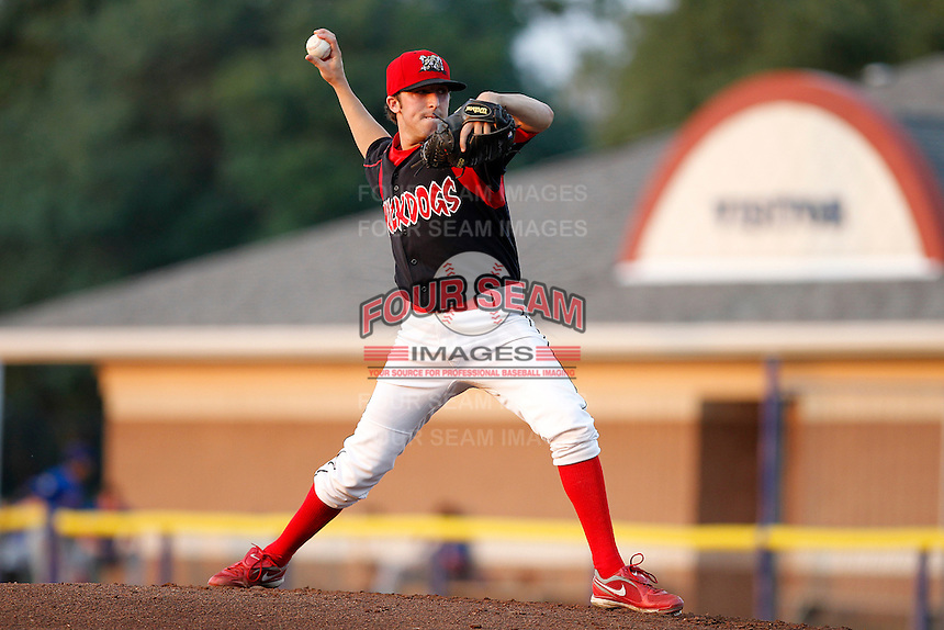 Batavia Muckdogs pitcher Corey Baker #8 delivers a pitch during a game against the Auburn Doubledays at Dwyer Stadium on September 3, 2011 in Batavia, New York.  Auburn defeated Batavia 2-1.  (Mike Janes/Four Seam Images)