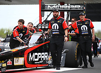 Apr 21, 2018; Baytown, TX, USA; Crew members for NHRA top fuel driver Leah Pritchett during qualifying for the Springnationals at Royal Purple Raceway. Mandatory Credit: Mark J. Rebilas-USA TODAY Sports