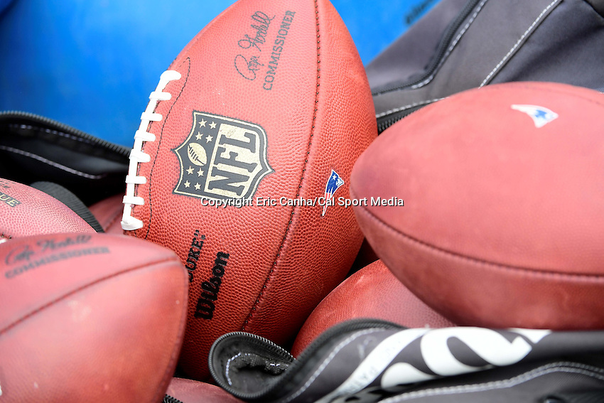 Monday, August 8, 2016:  Patriots practice footballs sit on the field after a joint training camp session between the Chicago Bears and the New England Patriots held at Gillette Stadium in Foxborough Massachusetts. Eric Canha/CSM
