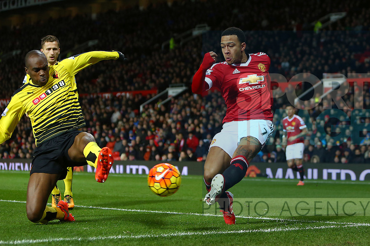 Memphis Depay of Manchester United puts in a cross - Barclay's Premier League - Manchester United vs Watford - Old Trafford - Manchester - 02/03/2016 Pic Philip Oldham/SportImage