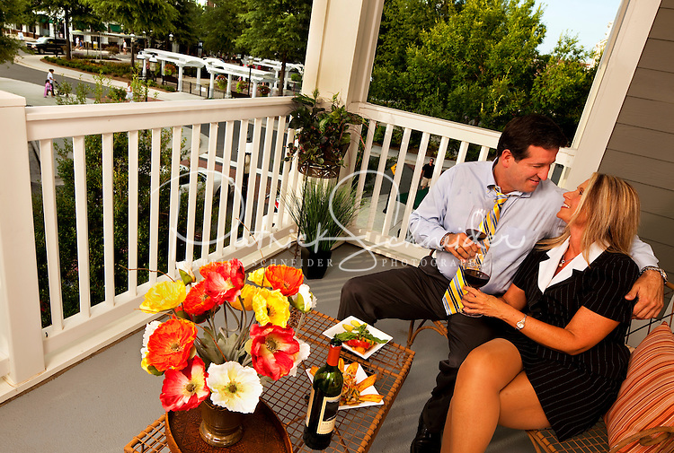 Lifestyle photos on the patio area at Birkdale Village, in Huntersville, North Carolina. Photo by: Patrick Schneider Photo.Com
