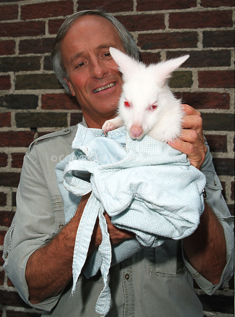 "Popular animal trainer JACK HANNA, who also has his own TV show, ""Jack Hanna's Animal Adventures,"" poses with a baby Kangaroo as he arrives at Ed Sullivan Theatre to make an appearance on the ""Late Show With David Letterman."" New York, June 13, 2002. Please byline: Alecsey Boldeskul/NY Photo Press.   ..*PAY-PER-USE*      ....NY Photo Press:  ..phone (646) 267-6913;   ..e-mail: info@nyphotopress.com"