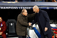 Galatasaray's coach Fatih Terim and Real Madrid CF's Zinedine Zidane salute during UEFA Champions League match, groups between Real Madrid and Galatasaray SK at Santiago Bernabeu Stadium in Madrid, Spain. November, Wednesday 06, 2019.(ALTERPHOTOS/Manu R.B.)<br /> Champions League 2019/2020  <br /> Real Madrid - Galatasaray<br /> Foto Alterphotos / Insidefoto <br /> ITALY ONLY