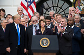 United States Senator Lisa Murkowski, Republican of Alaska, speaks on the South Lawn of the White House surrounded by United States President Donald J. Trump, United States Vice President Mike Pence, and Republican members of Congress after the United States Congress passed the Republican sponsored tax reform bill, the 'Tax Cuts and Jobs Act' in Washington, D.C. on December 20th, 2017. Credit: Alex Edelman / CNP