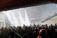 Ohio State Buckeyes make a smoke-filled entrance prior to the NCAA football game against the Penn State Nittany Lions at Ohio Stadium in Columbus on Oct. 17, 2015. (Adam Cairns / The Columbus Dispatch)