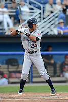 Mahoning Valley Scrappers outfielder Brian Ruiz (24) during a game against the Batavia Muckdogs on August 31, 2013 at Dwyer Stadium in Batavia, New York.  Batavia defeated Mahoning Valley 11-0  (Mike Janes/Four Seam Images)