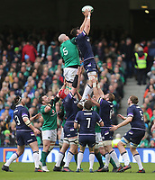Saturday 10th March 2018 |  Ireland vs Scotland<br /> <br /> Devin Toner and Ryan Wilson challenge for this lineout <br /> ball during the NatWest 6 Nations clash between Ireland and Scotland at the Aviva Stadium, Lansdowne Road, Dublin, Ireland. Photo by John Dickson / DICKSONDIGITAL