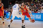 Sergio Llull of Spain and Ronald Roberts Jr of Dominican Republic during the Friendly match between Spain and Dominican Republic at WiZink Center in Madrid, Spain. August 22, 2019. (ALTERPHOTOS/A. Perez Meca)