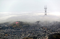 aerial photograph Sutro Tower fog San Francisco, California