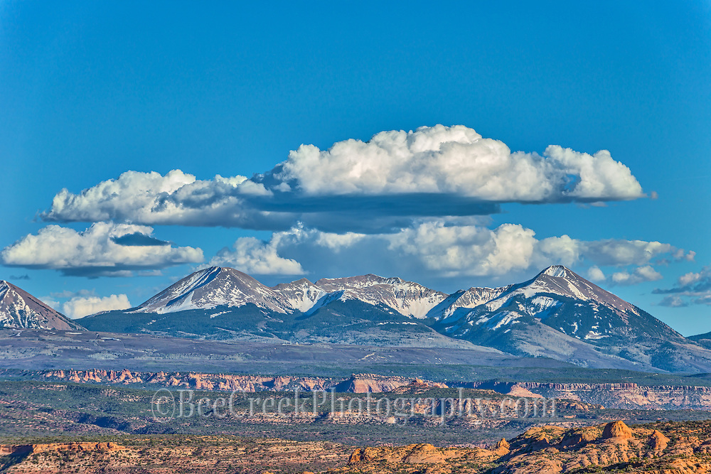 View of La Sal Mountains Utal from Arches National Park.