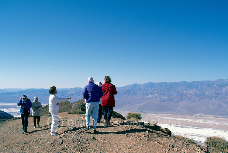 Death Valley National Park, California, CA, USA - Tourists at Dante's View overlooking Badwater Basin, Salt Flats, and Panamint Mountains