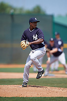 New York Yankees Claudio Custodio (11) during a minor league Spring Training game against the Pittsburgh Pirates on April 1, 2016 at Pirate City in Bradenton, Florida.  (Mike Janes/Four Seam Images)