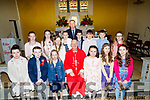 Pupils from Castledrum NS who wee confirmed on Friday in St Gobnaits Church, Boolteen,Keel Castlemaine by the Bishop of Kerry Ray Browne. Front L-r: Lara Evans,Cormac O'Brien,Suzie O'Connor,Kacey O'Shea,Tessa McGuigan and Saoirse Wenk. Back Eabha O'Callaghan,Elba Mangan,Tara Ryan,Lucy Griffin, max Clifford,Lachlan O'Shea,Oisín and Lara O'Dowd, Ciaran Mac Gearailt (teacher) and fr Roache (PP)