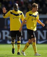 Fussball, 2. Bundesliga, Saison 2011/12, SG Dynamo Dresden - Alemannia Aachen, Sonntag (16.10.11), gluecksgas Stadion, Dresden. Dresdens Mickael Pote (li.) und Robert Koch.