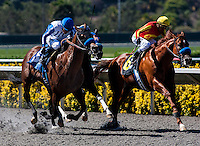 August 26, 2012. Capital Account and David Flores(outside) defeat stablemate Coil and jockey Rafael Bejarano to win the Pat O'Brien Stakes(GII)at Del Mar Thoroughbred Club in Del Mar, CA..