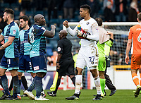Big well done for Goalkeeper Jamal Blackman of Wycombe Wanderers from Adebayo Akinfenwa during the Sky Bet League 2 match between Wycombe Wanderers and Blackpool at Adams Park, High Wycombe, England on the 11th March 2017. Photo by Liam McAvoy.