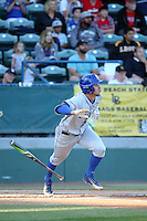 Andrew Calica (21) of the UC Santa Barbara Gauchos bats against the Cal State Long Beach Dirtbags at Blair Field on April 1, 2016 in Long Beach, California. UC Santa Barbara defeated Cal State Long Beach, 4-3. (Larry Goren/Four Seam Images)