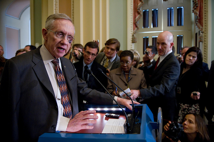 WASHINGTON, DC - May 10: Senate Majority Leader Harry Reid, D-Nev., during a news conference after the Senate Democratic policy luncheon at the U.S. Capitol. He has a black eye and his arm in a sling as a result of  a fall last week when while exercising. Senate Democrats are struggling to come up with a fiscal 2012 budget resolution able to garner the votes needed to survive a committee vote and floor consideration in the narrowly divided chamber. Budget Chairman Kent Conrad, D-N.D., appears to lack the votes needed to get a draft 2012 budget resolution through his committee. (Photo by Scott J. Ferrell/Congressional Quarterly)