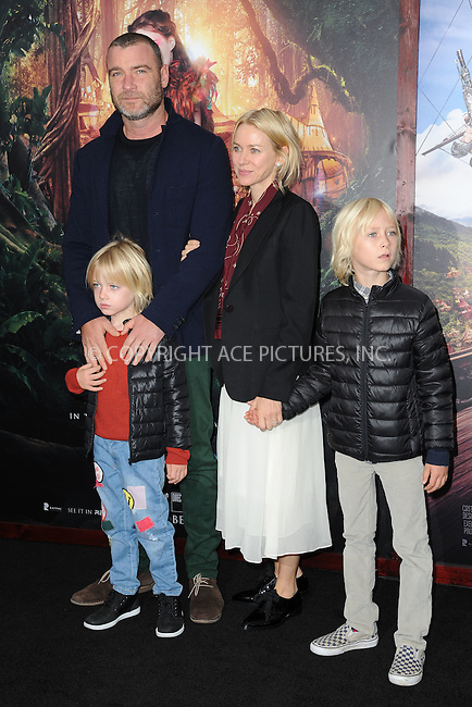 WWW.ACEPIXS.COM<br /> October 4, 2015 New York City<br /> <br /> Liev Schreiber, Naomi Watts and children Samuel Schreiber and Alexander Schreiber  attending the 'Pan' New York Premiere arrivals at Ziegfeld Theater on October 4, 2015 in New York City.<br /> <br /> Credit: Kristin Callahan/ACE Pictures<br /> <br /> Tel: (646) 769 0430<br /> e-mail: info@acepixs.com<br /> web: http://www.acepixs.com