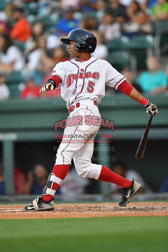 Right fielder Lorenzo Cedrola (5) of the Greenville Drive in a game against the Asheville Tourists on Tuesday, May 2, 2017, at Fluor Field at the West End in Greenville, South Carolina. Asheville won, 7-1. (Tom Priddy/Four Seam Images)