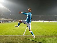 Arkadiusz Milik of Napoli  celebrates after scoring during the  italian serie a soccer match,Atalanta - SSC Napoli at  the Atleti azure d'italia   stadium in Bergamo Italy , December 03, 2018