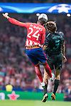 Atletico de Madrid's Jose Maria Gimenez and Chelsea's Marcos Alonso during UEFA Champions League match between Atletico de Madrid and Chelsea at Wanda Metropolitano in Madrid, Spain September 27, 2017. (ALTERPHOTOS/Borja B.Hojas)