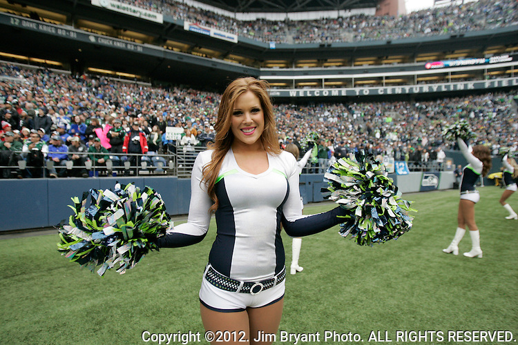 Seattle Seagals perform along the sideline of the Seattle Seahawks  New York Jets game at CenturyLink Field in Seattle, Washington on  November 11, 2012. The Seattle Seahawks beat the New York Jets 28-7.  ©2012.  Jim Bryant Photography. All Rights Reserved.