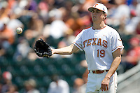 Starting pitcher Sam Stafford #19 of the Texas Longhorns against Texas Tech on April 17, 2011 at UFCU Disch-Falk Field in Austin, Texas. (Photo by Andrew Woolley / Four Seam Images)