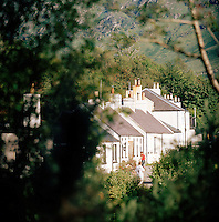 A row of houses in the small village of Inverie, the only village in Knoydart in the highlands of Scotland, UK