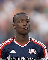 New England Revolution midfield Dimitry Imbongo (92). In a Major League Soccer (MLS) match, Sporting Kansas City defeated the New England Revolution, 1-0, at Gillette Stadium on August 4, 2012.