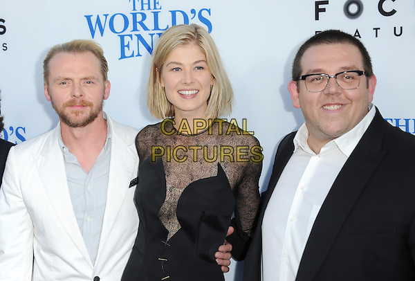 Simon Pegg , Rosamund Pike and Nick Frost<br /> 'The World's End' Los Angeles Premiere held at the Cinerama Dome, Hollywood, California, USA.<br /> August 21st, 2013<br /> half length dress plunging neckline glasses black lace sheer suit white blue shirt beard facial hair <br /> CAP/DVS<br /> &copy;DVS/Capital Pictures