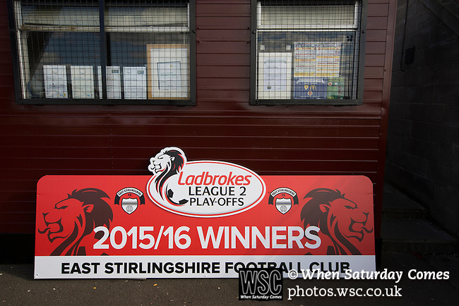 East Stirlingshire 0 Edinburgh City 1, 14/05/2016. Ochilview, Scottish League Pyramid Play Off. The discarded and unused promotion prop propped up by a shed after East Stirlingshire hosted Edinburgh City in the second leg of the Scottish League pyramid play-off at Ochilview Park, Stenhousemuir. The play-offs were introduced in 2015 with the winners of the Highland and Lowland Leagues playing-off for the chance to play the club which finished bottom of Scottish League 2. Edinburgh City won the match 1-0 giving them a 2-1 aggregate victory making them the first club in Scottish League history to be promoted into the league. Photo by Colin McPherson.