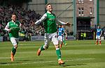 13.05.2018 Hibs v Rangers: Florian Kamberi celebrates his goal