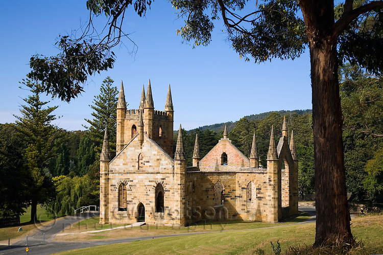 Ruins of the Church at the Port Arthur Historic Site.  Constructed in 1836-37, the church was never consecrated.  Port Arthur, Tasmania, AUSTRALIA