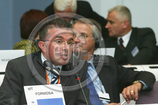 BRUSSELS - BELGIUM - 12 OCTOBER 2005 --Committee of the Regions (CoR) - Open Days. -- Plenary Session. -- Noel FORMOSA, Malta.  PHOTO: ERIK LUNTANG / EUP-IMAGES..