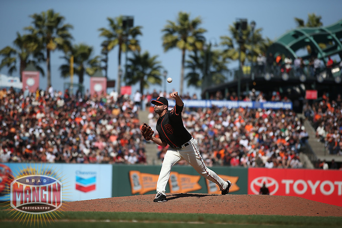 SAN FRANCISCO, CA - MAY 2:  Jeremy Affeldt #41 of the San Francisco Giants pitches against the Los Angeles Angels during the game at AT&T Park on Saturday, May 2, 2015 in San Francisco, California. Photo by Brad Mangin