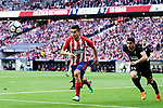 Angel Correa of Atletico de Madrid (L) in action against Jose Angel Cote of SD Eibar (R) during the La Liga match between Atletico Madrid and Eibar at Wanda Metropolitano Stadium on May 20, 2018 in Madrid, Spain. Photo by Diego Souto / Power Sport Images