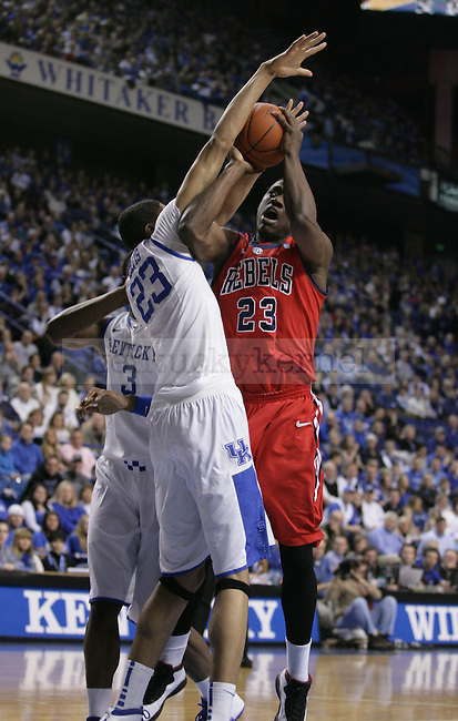 Anthony Davis blocks a shot by Reginald Buckner during the first half of the game against the University of Mississippi Rebels, in  Rupp Arena, on Saturday, Feb. 18, 2012. Photo by Latara Appleby | Staff ..