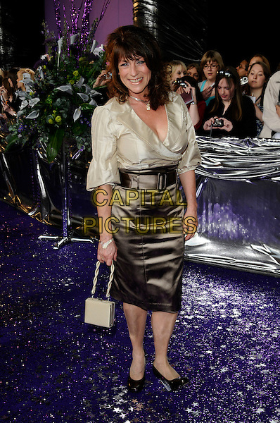 DEENA PAYNE.Attending the British Soap Awards 2008.BBC Television Centre, Wood Lane, London, England, 3rd May 2008.full length brown cream silk satin skirt blouse belt bag purse .CAP/CAN.©Can Nguyen/Capital Pictures