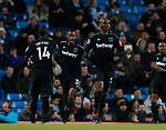 Angelo Ogbonna of West Ham United (r) celebrates scoring the first goal during the premier league match at the Etihad Stadium, Manchester. Picture date 3rd December 2017. Picture credit should read: Andrew Yates/Sportimage