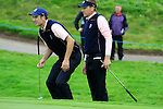Ian Poulter and Ross Fisher on the 15th green during Practice Day 3 of the The 2010 Ryder Cup at the Celtic Manor, Newport, Wales, 29th September 2010..(Picture Eoin Clarke/www.golffile.ie)