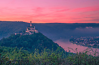 Marksburg Castleat dawn ,   Rhine River, Germany , Rhineland Region. 13th Century Castle Upper Middle Rhine Valley UNESCO World Heritage Site