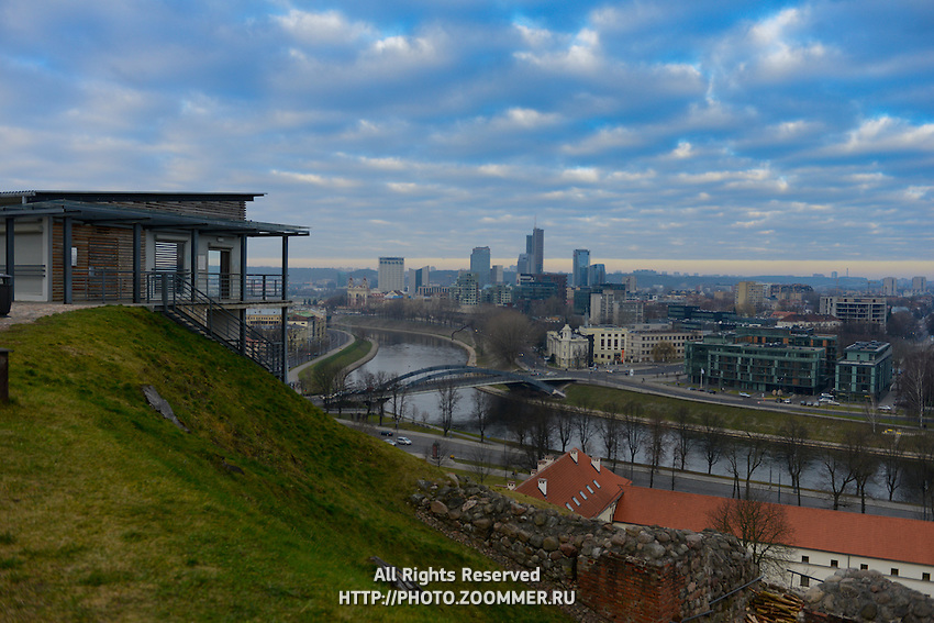 Vilnius Panorama With Neris River From Castle Complex, Lithuania